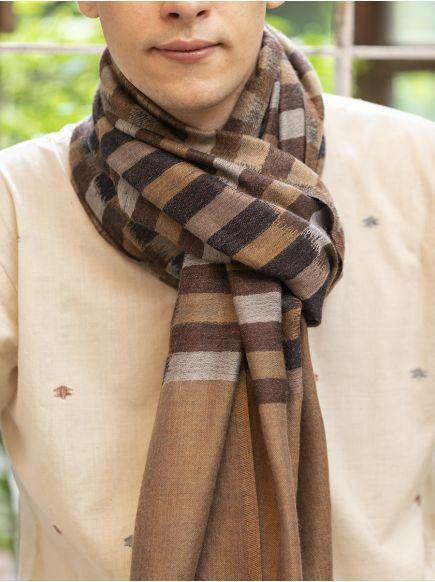 Ikat Soft Wool Stole : Grey on Beige