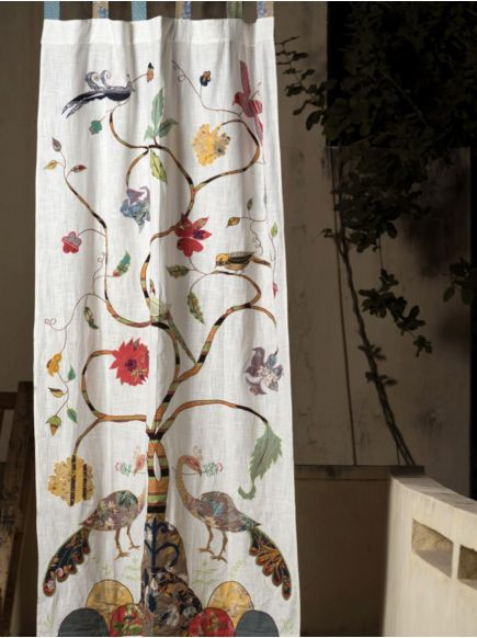 Textured Curtain : Tree of Life Natural